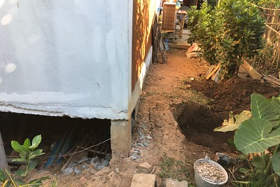 Sinking foundation repairs underway
