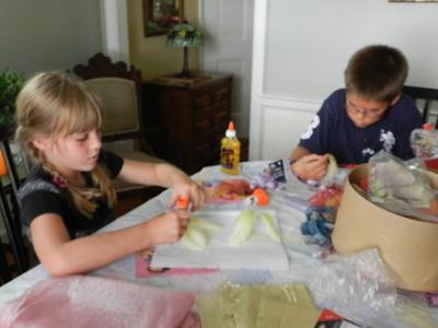 Sofia and Austin intent on their projects