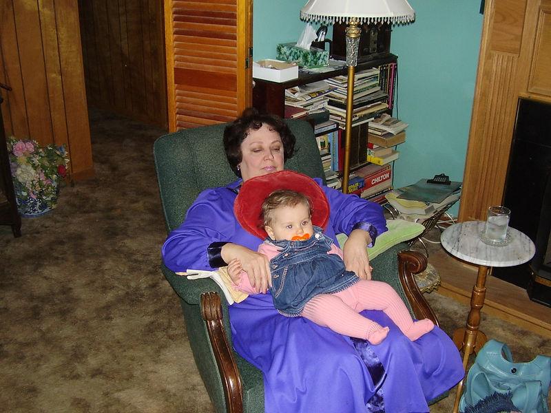Velma holding her new granddaughter, Olivia Lorelai.