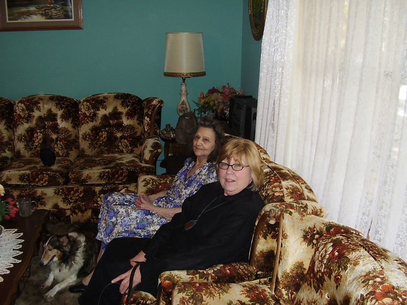 Wendell's mom and Jackie. Lonnie the Shetland Sheepdog is on the floor.