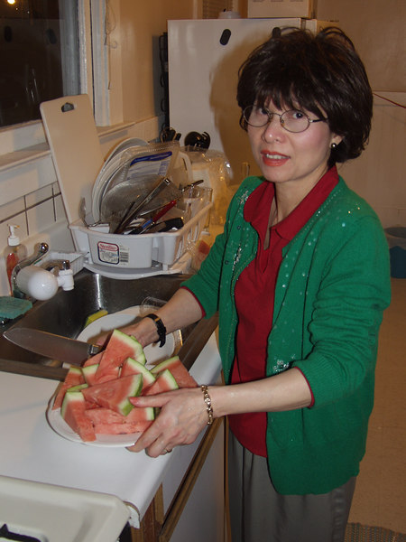 In an attempt to sober the family up, my mom cuts up some watermelon!