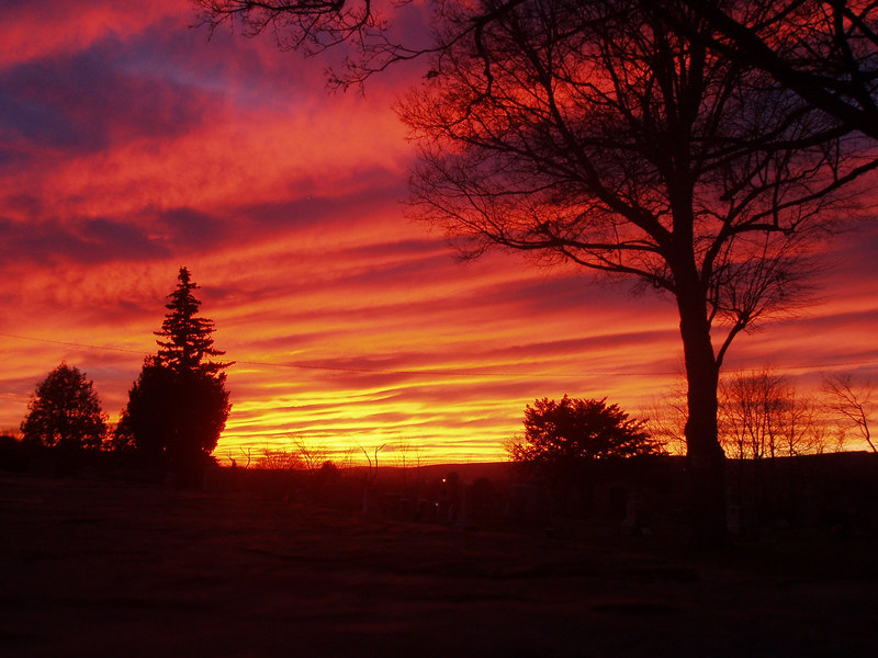 Wednesday's sunset over the Pittston Ave Cemetery