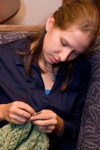 Abby knitting.
