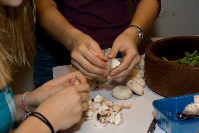 Preparing mushrooms (for the green bean casserole).