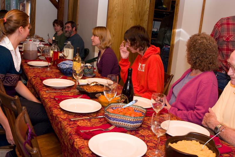 Everybody settling down for dinner.