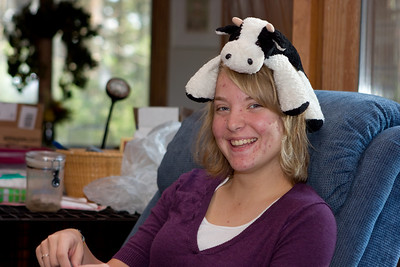 Molly wearing a cow.