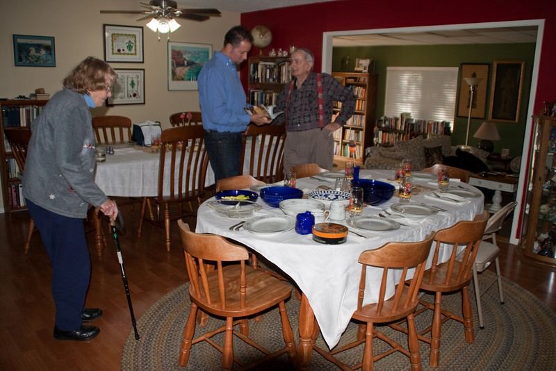 Linda and Paul's table/chairs plus Mom's & Dad's table/chairs all together quite comfortably in one room.