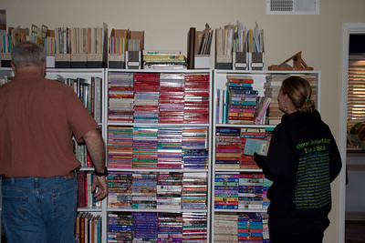 Paul and Katie by the eastern dining room bookcases.