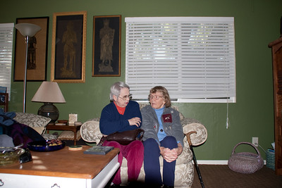 Barbara Jean and Mom in Linda & Paul's recently art-ed living room.