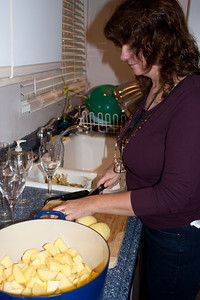 Linda preparing the potatoes. And a fine sack of potatoes it is...