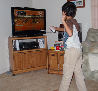 Grand Master of Wii Bowling at Joe's house