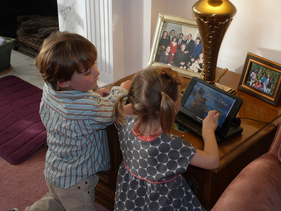 Luke and Cambria watch the Wiggles