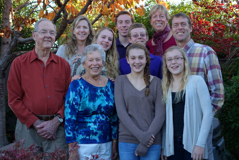 Saturday we had our second Thanksgiving dinner at Grandma and Grandpa Carlson's.  Here we are posing for the annual photo.
