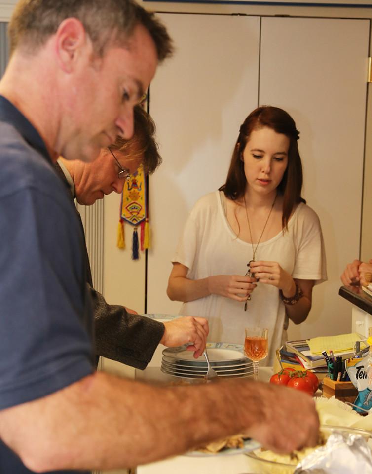 Bill, James, & Delaney gathering dinner