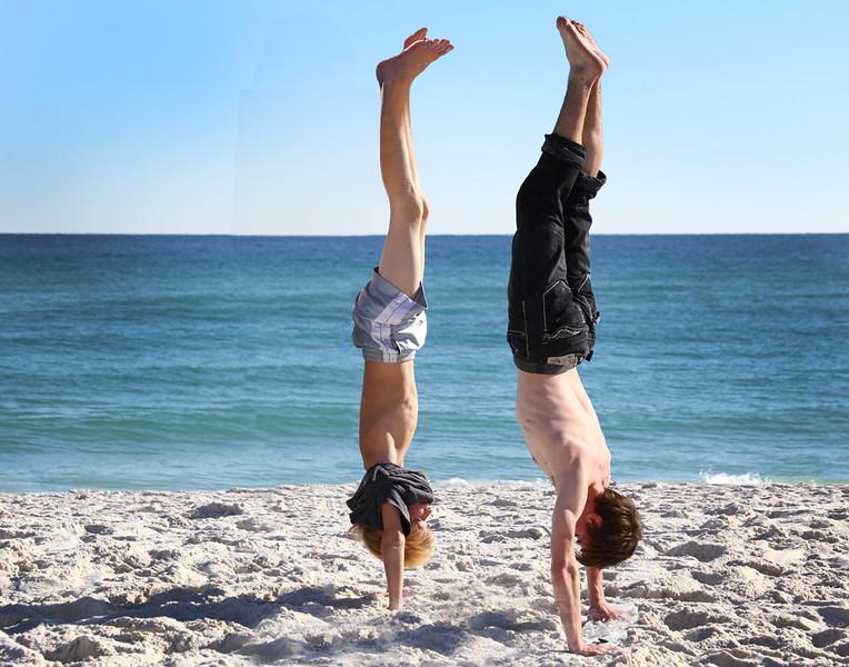 Kaleb & Chip do handstands