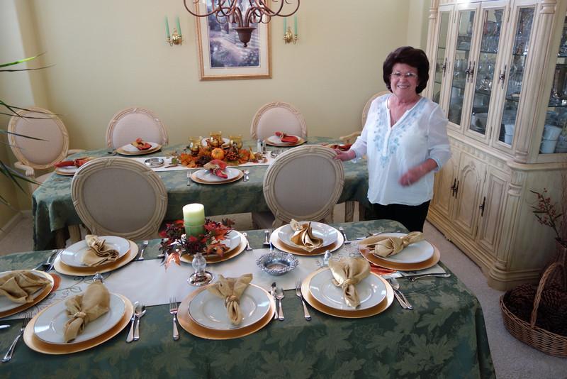 Grandma Carol with her beautiful tables