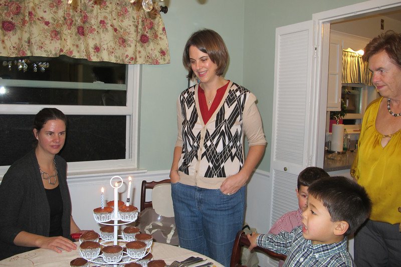 Katie's birthday occurred on Thanksgiving Day this year, and Liz made her some cupcakes to celebrate.