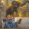 The entire family posed in front of the elephant in the Rotunda.