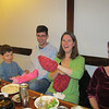 Dinner at Woo Me Gardens in Wheaton, with knitted gift hats from Aunt Doreen.  We were pleased to have Carrie join us.