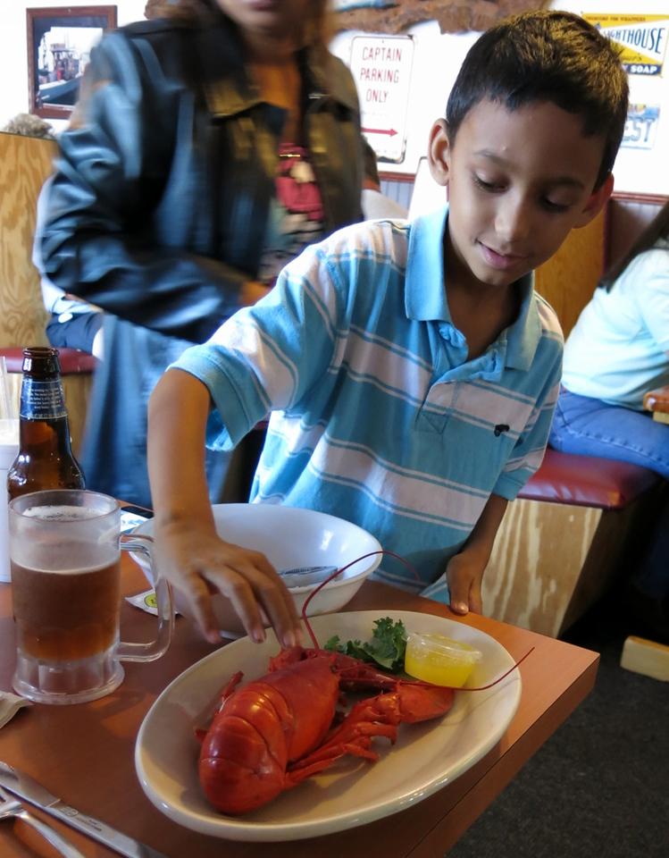 Peyton pets a lobster