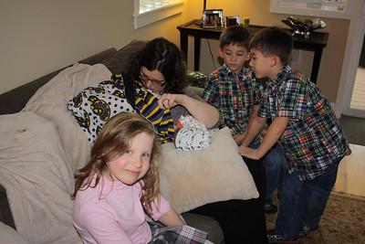 Nick, Zack and Freya watch Esther eat