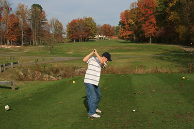 Jon on the 18th tee (right before breaking Grandpa's driver!)