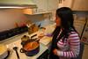 Nini cooking some chana!  It was goooood.