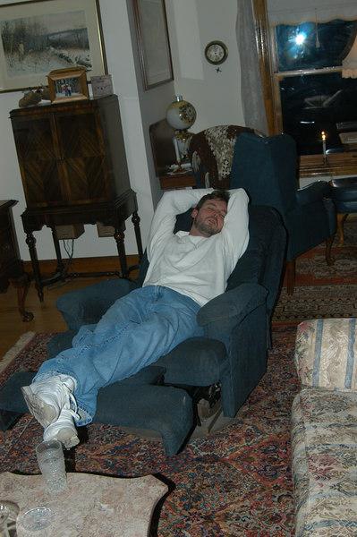 Matt sleeping off the night before's ill effects.