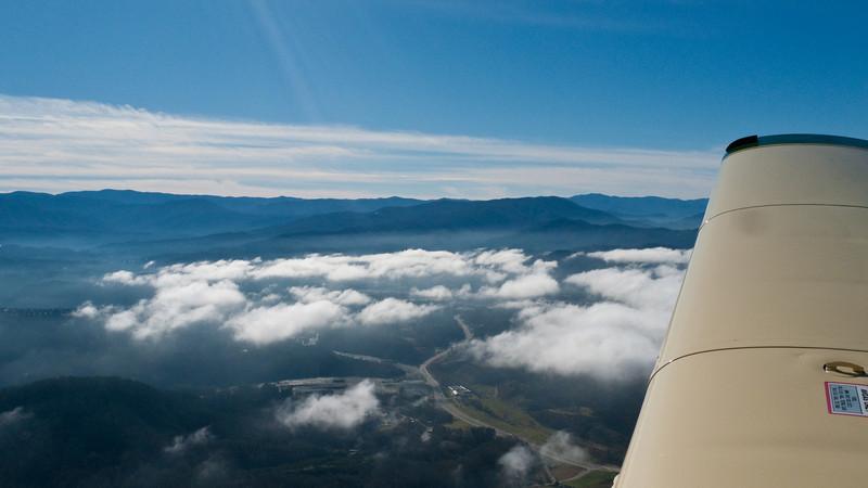 Over Gatlinburg, TN area - circling to gain altitude