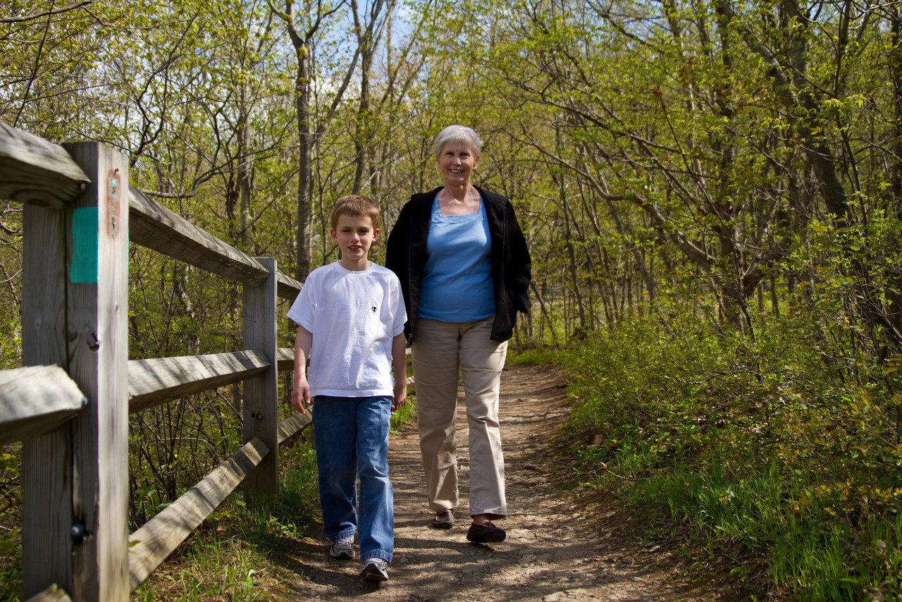 Connor and Grammy out for a stroll.