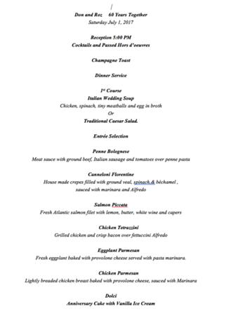 60th anniversary menu