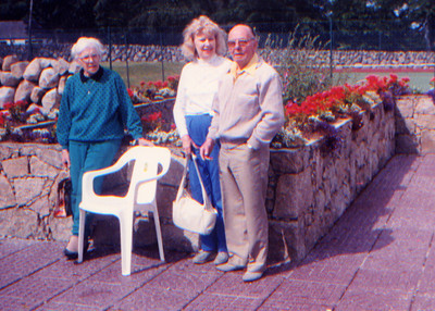 DPB-86: May (Maisie) Barr (nee McKeown) , Margie Hilbert and David (Davy) Barr Snr 1990. The back reads: Another great day with the Barrs