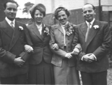DPB-55: Edward (Eddie) Barr, Eileen Prentice (nee Montgomery) May (Maisie) Barr (nee McKeown) and David (Davy) Barr on wedding day 1952