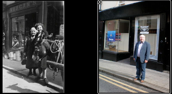 Left: Emily (Granny) McKeown and  May (Maisie) McKeown in Clones (where Emily was born) outside Morgans hardware store c 1948  Right: David Prescott Barr in Clones Co. Monaghan, Oct 2010 outside what was Morgans hardware store.
