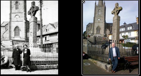 Left: Emily (Granny) McKeown and May (Maisie) McKeown outside St Tiernach's Church of Ireland Church, Clones, Ireland. c. 1948  Right: David Prescott Barr outside St Tiernach's Church of Ireland Church, Clones, Ireland. Oct 2010.