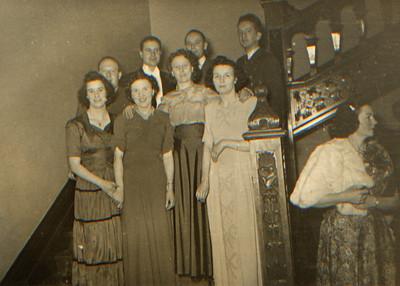 DPB-49: From Left: Minnie Conlan, May (Maisie) McKeown, Eileen Prentice (nee Montgomery, Peggy Barr. Back right: Robert (Bertie) Barr, Edward (Eddie) Barr, David (Davy) Barr and Terry Quinn