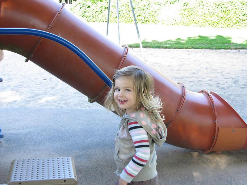 Hazel at Eleanor Park. Loved the steps, didn't do the slide.