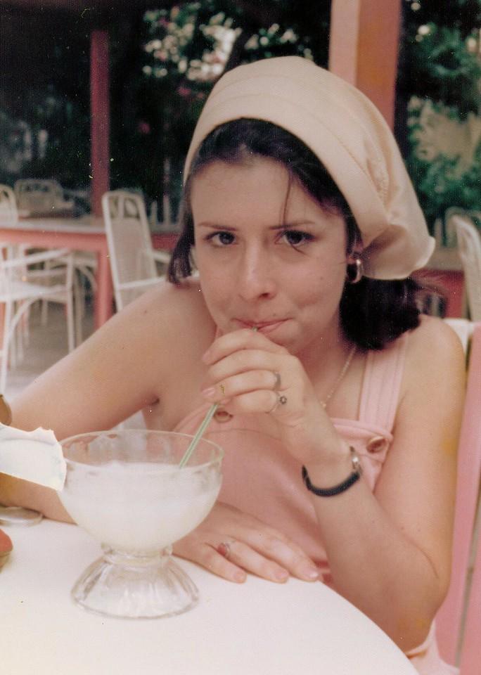 Our Honeymoon in Antigua -Tory enjoying a Banna Daiquiri at the Kesington House