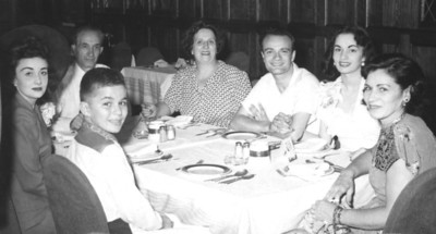Louis and Marian Sanfilippo's wedding dinner with the family on Aug 8, 1951.  Lt-Rt: My mom Betty, Chickie (Marian's brother at 12yo), Pop and Nanny (my grandparents), Lou and Marian, and Rose (Marian's mom). The picture was taken by my dad Ralph.