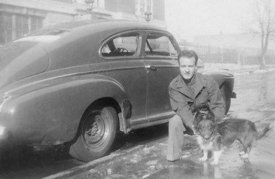 Louis Sanfilippo and his dog in 1946 after returning home from the War.
