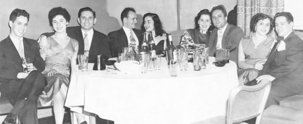 Dining at the historic Stork Club NYC in 1952.  My Uncle Lou and Aunt Marian are seated left center with Fran and Lou Gregorio seated to their left.