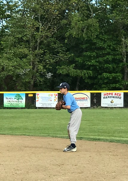 Carson in the field - he had a great hit in the 5th inning!