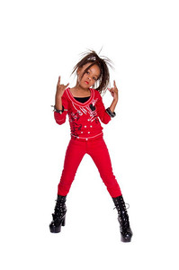 Young African American Girl dressed in red and black and grown up high heel boots flashing Rock N Roll hand gestures