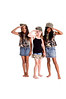 Multi racial trio of girls dressed in denim skirts and military woodland camouflage tops and caps saluting