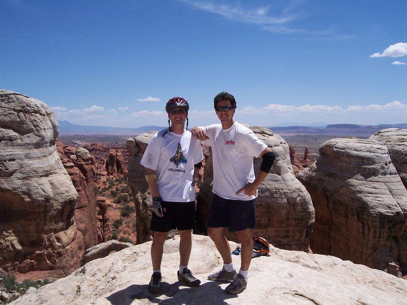 Matthew & Nathanael on top of Klondike Bluffs; Moab UT; June 2004