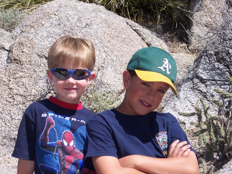 Ryan & Indigo hiking in Sandia Mountains; June 2004