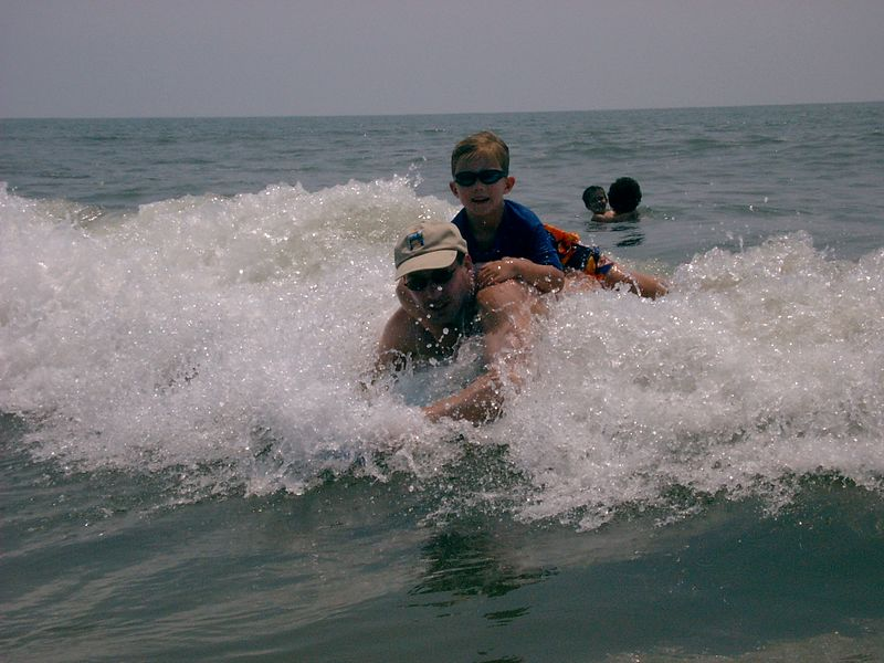 Matthew & Ryan riding the waves; Folly Beach, SC; Summer 2004