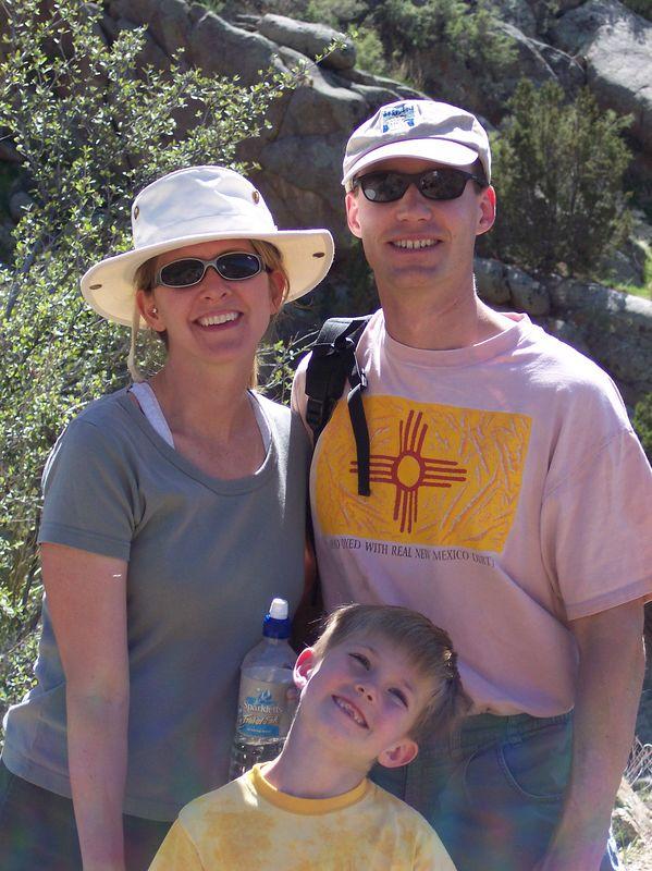 Shannon, Matthew, & Ryan hiking in Sandia Mountains; 4/2005