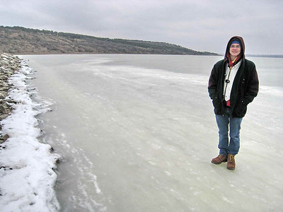 Odessa Jan 2009 - Lex on frozen lake liman at dacha