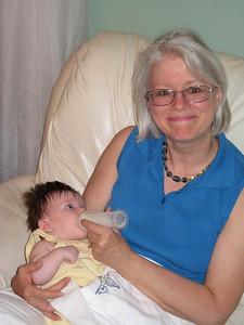 Darlene & newborn first grandchild Kendra
